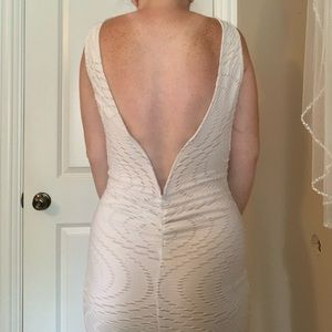 White Body Con Dress with Low Back!